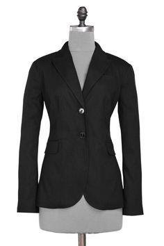 Linen boyfriend blazer - Black Blazers