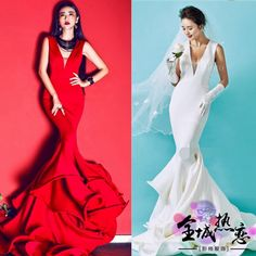 The new section was thin waist fish tail wedding photo studio photo shoot the subject of clothing couple photo portrait catwalk trailing dress