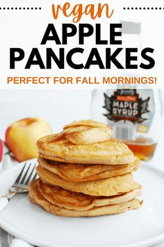 These vegan apple pancakes are a delicious fall breakfast treat! You'll love how easy it is to make these flavorful dairy free egg free pancakes that have chunks of fresh apple and are spiced with cinnamon. Dairy Free Egg Free Pancakes, Dairy Free Eggs, Dairy Free Recipes, Apple Pancake Recipe, Pancake Calories, Pumpkin Smoothie, Dairy Free Breakfasts, Oat Pancakes, Fall Breakfast