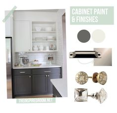 cabinet makeover: gray and white two toned painted cabinets, subway tile, white quartz counters, anthropologie and restoration hardware knobs & pulls