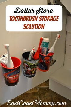 Easy Toothbrush Organization... using dollar store supplies. Easy and effective... full tutorial and tips on the website.