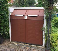 #Containerbox #AVANTGARDE® 1100 für #Abfall- & #Wertstoff-Behälter bis 1.100 l Volumen. Wertstein®-Korpus: Procarat® Mixed, Türen und Einwurfdeckel duplexbeschichtet: Weissaluminium.