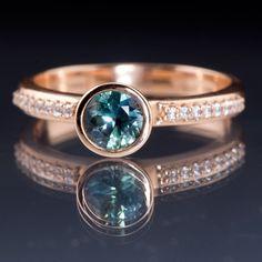 Teal / Blue Montana Sapphire Peekaboo Bezel Diamond Pave Rose Gold Engagement Ring