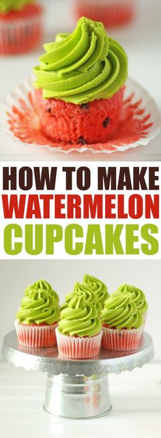 How to Make Watermelon Cupcakes - Rose Bakes How to Make Watermelon Cupcakes. Summer is here and it's time to have watermelon. cupcakes that is ;) Check out this fun and easy recipe for bright, summery cupcakes! Mini Cakes, Cupcake Cakes, Tea Cakes, Cupcake Recipes, Dessert Recipes, Summer Cupcakes, Fun Cupcakes, Cake Decorating Tutorials, Savoury Cake