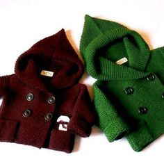Hand Knit baby coat Hooded children's Jacket Merino wool Coat with pockets Different sizes and colors Knitted Baby Cardigan, Knit Baby Sweaters, Knitted Coat, Cardigan Pattern, Wool Coat, Crochet For Boys, Knitting For Kids, Baby Knitting, Crochet Baby