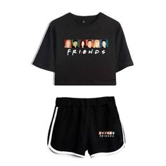 Luckyfridayf 2018 Friends Fashion Ill Be There For You Summer Shorts And T-shirts Women Two Piece Sets Crop Top Casual Clothes Cute Lazy Outfits, Crop Top Outfits, Casual Outfits, Casual Clothes, Vans Shoes Fashion, Friends Merchandise, Cute Sleepwear, Friend Outfits, Friends Fashion