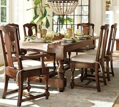 I Love this table! But would do different chairs for sure.    Cortona Extending Dining Table | Pottery Barn