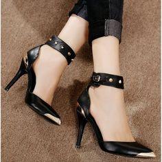Black Leather Studded High Heel Ankle Strap Punk Fashion Sandals Women SKU-11405497