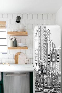 Magnet Sticker Refrigerator removable Peel /& Stick Architecture New York City