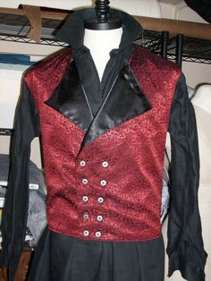 Neo Victorian Mens Red/Black Jacquard Double Breasted Corset Vest