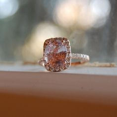 386ct Cushion peach champagne sapphire 14k rose by EidelPrecious, $4250.00