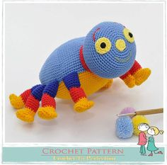"""Woolly spider is 12cm / 5"""" tall & 22cm / 9"""" long if using similar yarn. Woolly spider is inspired from a famous children's programme called Woolly & Tig . You can now make your little ones happy by crocheting them a their very own Woolly cuddly soft toy.Skill Level: Easy/Intermediate Yarn: Double Knit Hook: 2mmThis is a 9 pages crochet pattern beautifully illustrated with clear easy to follow page by page details.Written in English using US terminology. Th..."""