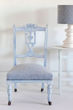 Old White & Old Violet chair cover and lampshade from the Annie Sloan Coloured Linen Fabric Collection. Chair painted in Old Violet with Louis Blue over it with Annie Sloan White Wax.