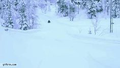 Kid on sled is nearly hit by two cars. #gif #gifs