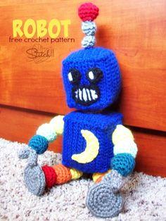 Robot - Free Amigurumi Crochet Pattern here: http://stitch11.com/free-crochet-robot-pattern/