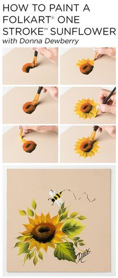 """Learn how to paint a beautiful sunflower using a small palette of FolkArt Multi-Surface Acrylic paints and just a few brushes with Donna Dewberry's acclaimed """"One Stroke Painting"""" technique. #sunflowercanvaspainting"""
