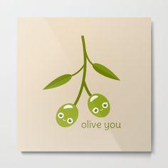 Olive You Metal Print - pun, puns, olive, olives, branch, peace, fruit, food, funny, cute, love, relationship, tasteful, tasty, relationships, valentine, valentines, vector, art, illustration, drawing, design