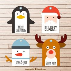 Fancy christmas characters Free Vector