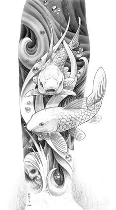Pencil Drawings Of Koi Fish | 30 00 A Pencil Drawing Depicting Two Koi Fish Swimming Through