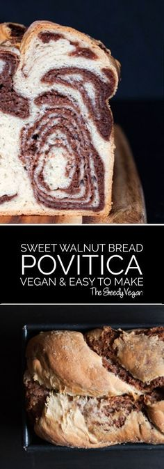This vegan povitica is a great treat during the holidays. Povitica is a soft and sweet bread with a delicious layer of walnuts and cocoa. It makes a stunning centerpiece for any table and is very easily made.