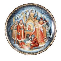 "Decorative Plate - Tale of Tsar Saltan Palekh by Russianshoppe. $10.00. Material: porcelain.. Specially created from palekh originals for this collection.. Set includes box, display stand, and plate.. Diameter: 4 inches (10 cm).. Featured on this lovely plate is a scene from the ""Tale of Tsar Saltan,"" a folklore poem written by Alexander Pushkin. The composer Rimsky-Korsakov was so inspired by the poem that he wrote an opera based on it. Here, the artist has captured tha..."