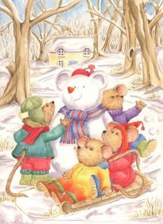 Christmas Mice making a Snowmouse