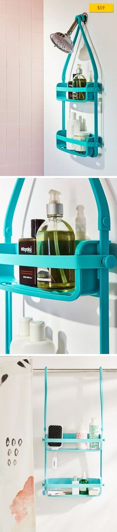 """Preston Flex Shower Caddy Sale, Apartment Sale, Bath   Innovative shower caddy with two shelves that stretch to fit any size product! Crafted from rust-free silicone, caddy securely mounts over a shower head or door with bungee-style top anchors and four suction cups. Includes 4 hooks for added storage. Content + Care - Plastic, silicone, rubber - Wipe clean - Imported Size - Dimensions: 3.75""""l x ..."""