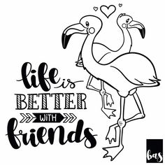 Life is better with friends. Day 17 of the #dutchlettering #31daychallenge :) . . #handlettering #calligraphy #typography #lettering #letterart #script #quotes #handmade #digitallettering #graphic #design #type #handwritten #modernlettering #baspetter #illustrator #adobe #vector #vectordrawing #drawing #art #blackandwhite #vectorlettering  #calligrabasics #typedaily @marijketekent #life #friends #flamingo
