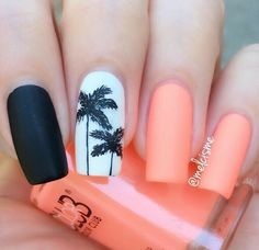 art, black, manicure, nails, palm tree