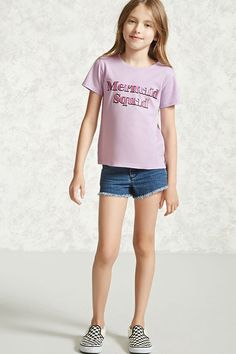 "Forever 21 Girls - A knit tee featuring a metallic ""Mermaid Squad"" graphic, short sleeves, a crew neck, and a vented hem."