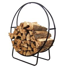 "Modern, simple ""wrought iron"" firewood holder from Serenity Health: Sunnydaze Steel Firewood Log Hoop, $40.99. A pretty, modern way to stack and store logs for campfires, fire pits and braziers."