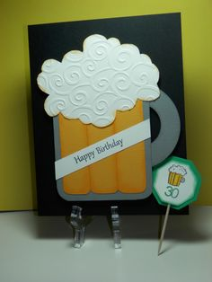 Birthday Beer Mug 30th Birthday Cards, Happy 30th Birthday, Handmade Birthday Cards, Birthday Beer, Scrapbook Cards, Scrapbooking, Masculine Birthday Cards, Hand Stamped Cards, Cool Cards