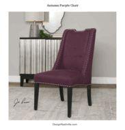 transitional slipper chair, dining chair, autumn purple, dark legs, nickel nail heads. DesignNashville.com Accent Furniture