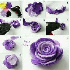 Diy Crafts - RibbonFlowerbouquet,RibbonFlowereasy-tutorial how to make flower felt fabric tutorial come fare fiore stoffa feltro 19 tutorial how Felt Flowers, Diy Flowers, Fabric Flowers, Paper Flowers, Felt Roses, Flower Ideas, Felt Diy, Felt Crafts, Fabric Crafts