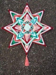 Mandala Estrela com lã fitas (30 cm)
