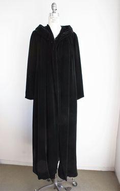 Vintage 1940s 1950s Black Velvet Opera Coat, Bergdorf Goodman New York