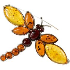 Natural Cherry Yellow  Baltic Amber Dragonfly Brooch  ~  This beautiful dragonfly has an incredible mix of natural amber, in three different colors of