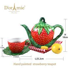fruit teapot strawberry teapot, customized handmade color glazed ceramic teapots Color Glaze, Ceramic Teapots, Glazed Ceramic, Tea Pots, Strawberry, Hand Painted, Ceramics, Fruit, Tableware