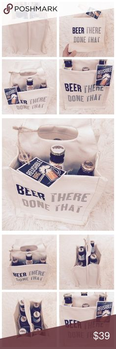 """Beer There Done That"" Travel Bottle Tote  Great reusable travel tote! Has 6 openings for beer bottles, sodas, waters, etc! Also include one slip pocket on each side for other extraneous items. 100% cotton. Measures 8"" W x 8.5"" H x 6"" D. Bags Totes"