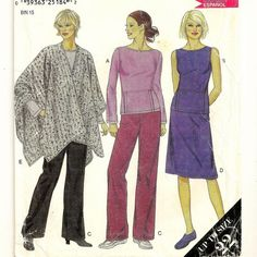 A Pocketed Boat Neck Top, Dress, Drawstring Waist Pants and Skirt, and Unstructured Poncho Pattern