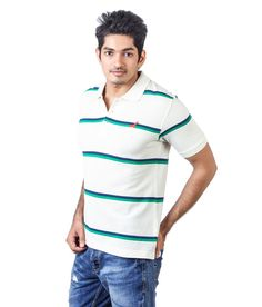 American Crew Polo Collar White With Navy Blue And Green Stripes T-shirt!! ✴✴Attractive combo offers available on Snapdeal !!