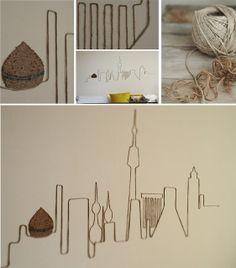 DIY skyline wall art using jute rope