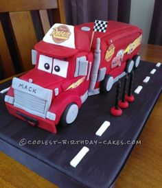 I made this Mack truck cake for my son's 3rd birthday, he is Cars mad and desperately wanted a Mack Truck cake.  I baked 2 large chocolate rectangle...