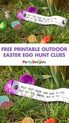 Planning an Easter egg hunt? Download our free printable outdoor Easter egg hunt clues and put them inside fillable eggs before your egg hunt! A fun Easter activity for kids.