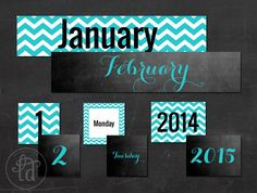 Turquoise Chevron and Chalkboard - Printable - Matching Classroom Calendar - INSTANT DOWNLOAD