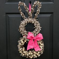 Bunny Wreath - easy to make from one heart shape grapevine wreath, and 2 round ones, one smaller than the other. Wire together with floral wire. Then decorate with flowers, eggs, ribbon etc.