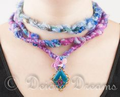 """- SOLD - Art Yarn Necklace, Boho Necklace, Hippie Necklace, Flower Necklace, Polymer Clay Flowers, Polymer Clay Pendant, Fiber Jewelry, Boho Jewelry This colourful statement necklace is called """"Highland Sunset over Heather and Sea"""" and was inspired by Highland sunsets in late Summer, when sky and land is tinged pink and purple and the sea and sky glow blue and purple and days last forever."""