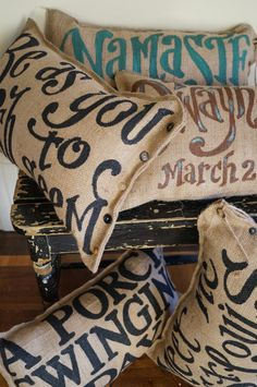 Burlap Quincy Pillow  Custom Quote by kijsa on Etsy, $30.00