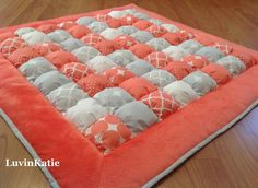 Bubble Quilt Puff Quilt Biscuit Quilt Bubble Blanket for Baby Floor Time Tummy Time Mat CORAL & GRAY by LuvinKatie on Etsy