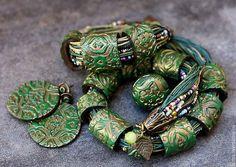 Колье, бусы ручной работы. Ярмарка Мастеров - ручная работа. Купить браслет, серьги, кольцо,колье из полимерной глины сокровище феи. Handmade.